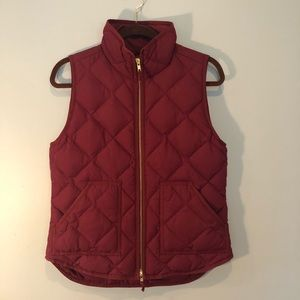 J Crew Quilted Burgundy Puffer Vest
